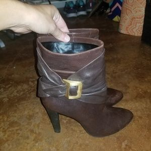 Brown Leather Buckle Booties